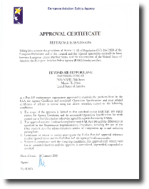 Eauropean Aviation Safety agency Certificate